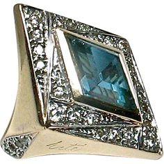 """Erte 14k  """"DECO"""" Ring - Original Erte Ring Box + Certificate of Authenticity"""