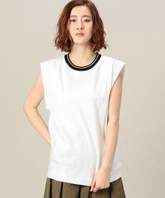 BEAUTY&YOUTH WOMENS(ビューティアンドユース ウィメンズ)のBY O'2nd ボックスノースリーブ(Tシャツ/カットソー)|ホワイト