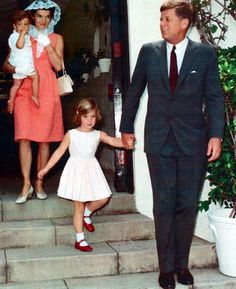 President John F. Kennedy and First Lady Jacqueline Kennedy with children Caroline and John in Palm Beach for Easter Sunday Mass, 1962