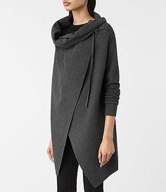 $124 ALLSAINTS US: Womens Drape Sweatshirt (MID CHARCOAL GREY)