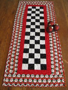 Patchwork Santa's Quilted Table Runner by Quiltedhearts5 on Etsy, $38.00