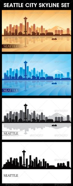 Seattle City Skyline Silhouettes Set