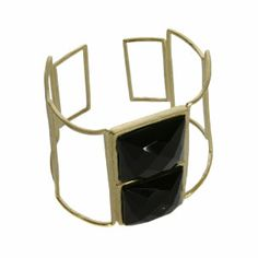 Marcia Moran Faceted Black Onyx Gold Cuff - gold plated metal. Sale $99.99.