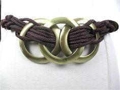 Brown woven belt Womens braided wide waist gold medallion belt 80s boho hippie corset belt