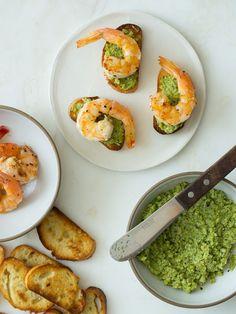 Favetta Crostinis topped with Smoky Sauteed Shrimp