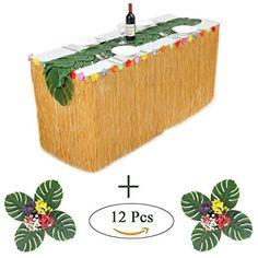Hawaiian Luau Party Tropical Garden Beach Dance Table Skirt Flower Decor Beamy