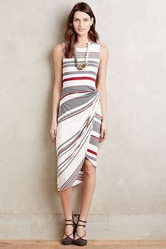 Gathered Stripes Midi Dress #anthropologie-great dress
