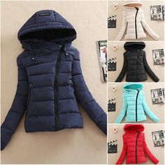 Winter Coat Women's Slim Down Cotton Hooded Collar Short Coat Zipper Jacket New #Unbranded #BasicCoat