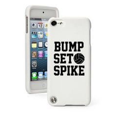 For iPod Touch 5th Gen White Rubber Hard Case Cover Bump Set Spike Volleyball #Apple