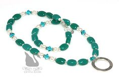 Teal Swarovski Crystal Pearl Circle of Hope Ovarian Cancer Awareness Necklace (N134).