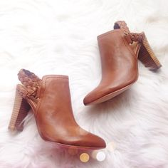Corso Como Cognac Braided Booties SO chic and perfectly on trend! Brand new in the box, only taken out for the photos. Size 10. No trades!! 1291525nro Corso Como Shoes Ankle Boots & Booties