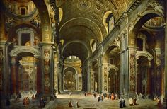 Giovanni Paolo Panini - Cardinal Melchior de Polignac Visiting the Basilica of Saint Peter's in Rome [1730]