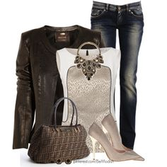 Leather Jacket & Pumps, created by wulanizer on Polyvore