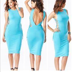 Fun Midi Dress Sleeveless open back midi with side ties. 95% modal 5% spandex. Sizes: small, medium & large Dresses Midi