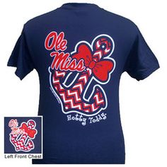Mississippi Ole Miss Chevron Anchor Bow Girlie Bright T Shirt | SimplyCuteTees