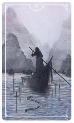 Six of Swords by Krista Gibbard For the upcoming Ostara Tarot Deck - If you love Tarot, visit me at www.WhiteRabbitTarot.com