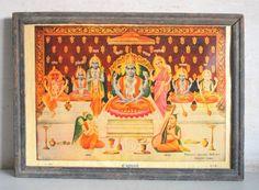 Old Antique Old Hindu Temple Worship Hindu Lord Badrinath Ji Print Framed