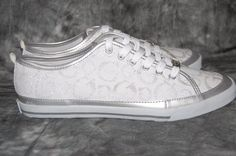 GUESS Athletic Shoes White Silver Sneakers New! Sz 10 #GUESS #Fashion