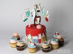 Mad Scientist Cake & Cupcakes by Heather Barranco Dreamcakes.