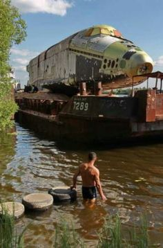 Abandoned Russian Space Shuttle! The Buran Shuttle along with another was discovered in an abandoned hangar in the Moscow region. This one was pulled in by barge and was refitted to go on display at an air show in 2011