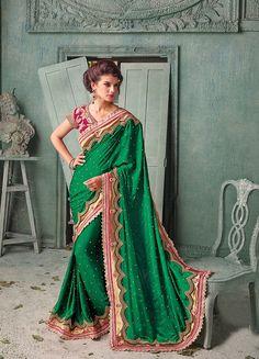Irresistible Green Colour Beads Work & Resham Work Designer Saree @
