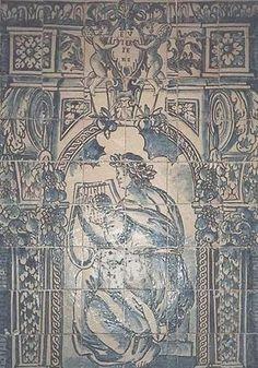 EUTERPE – MUSA DA POESIA (1670-1675). Painel de azulejos (130 cm x 91 cm) de autor desconhecido, fabrico de Lisboa. Museu Nacional do Azulejo, Lisboa.
