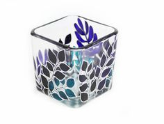 Hand Painted Glass Candle Holder Tea light от SylwiaGlassArt