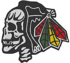 Chicago Blackhawks Hawk Skull 5x7 Machine by EmbellishStar on Etsy, $2.00