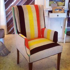 Hudson Bay Blanket chair.  Designed by Johnelle Mancha of Mignonne Decor! mignonnedecor.com