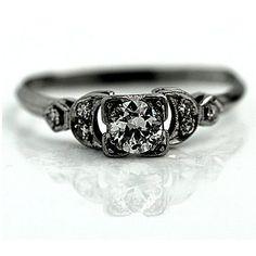 Art Deco Engagement Ring .46ctw Antique Ring Old European Cut Diamond Ring Platinum Wedding Ring Vintage 1930s Estate Ring Size 9!