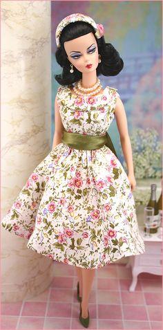"Silkstone Barbie wearing ""Pink Lady"" by greatnorthwoodsdesign.com"