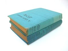 Vintage 1940's aqua blue book collection home decor library  art on Etsy, $25.00