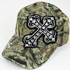 Mossy Oak Rhinestone Cross Cowgirl Baseball Cap Hat BK