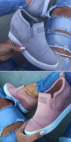 ae986d18b86  42.99 USD Sale! Free Shipping! Shop Now! Fashion Letter Slip On Wedge  Sneakers