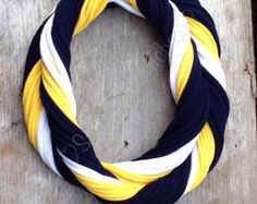 University of Michigan Loopy Infinity Scarf - Upcycled from Recycle Tshirts - Blue Yellow White Football Jersey Necklace - Michigan Scarf