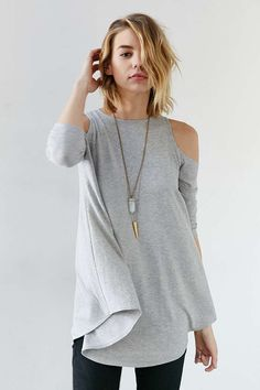 "I like the concept of ""cold shoulder"" tees, and I like that this one doesn't show too much and is also flowy"