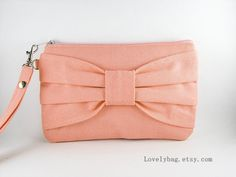 Big Bow Peach Clutch - iPhone 5 wallet, iPhone Purse, Cell Phone Wristlet, Camera Bag, Cosmetic Bag, Zipper Pouch