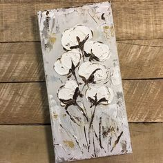 """One of my favorite cotton pieces sold recently. Loved this size 6x12""""! Hope to make more in the new year! #cotton #farmersdaughter #cottonbolls #cottonpainting #farmhouse #haleybdesigns #haleybushart #southernartist #mississippiartist"""