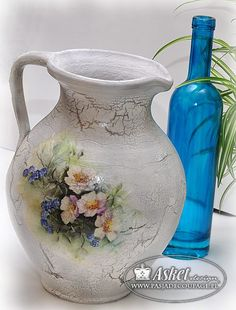 vintage pitcher, crackle and decoupage.