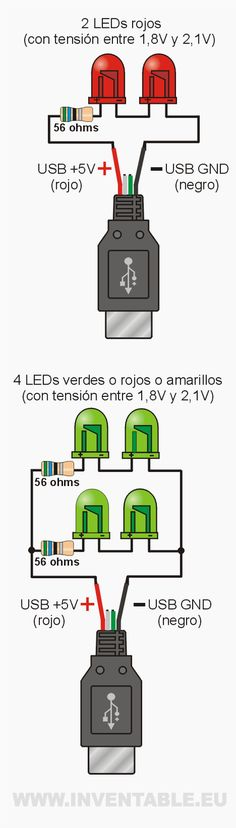 LEDs to USB: all the examples – Taringa! - News Technology Electronics Projects, Electronic Circuit Projects, Electronics Basics, Cool Electronics, Electronics Components, Led Projects, Electrical Projects, Electrical Engineering, Electronic Schematics
