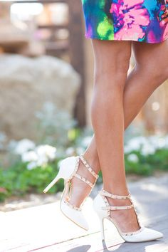 Treat Yourself Studded Strap Heels - White from Closet Candy Boutique #fashion #ootd #spring