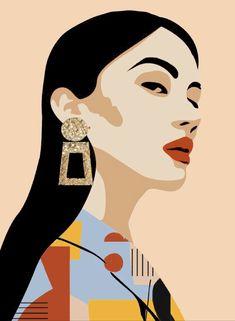 Face Illustration, Portrait Illustration, Illustrations, Pop Art Images, Arte Pop, Face Art, Portrait Art, Aesthetic Art, Cartoon Art