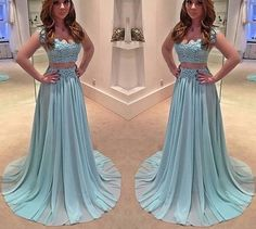 New Arrival Two Pieces Lace Prom Dress,Sleeveless Beading Evening Dress,Blue Chiffon Party Dress