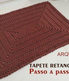Tapete retangular M simples – Passo a passo – Croche.com.br