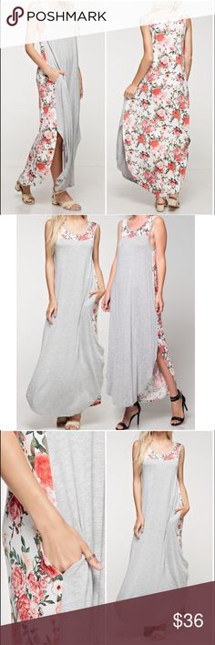 Gray Floral Maxi Dress Gray Floral Maxi Dress. 95% rayon, 5% spandex. Available in Small medium and large. Fits true to size. PRICE FIRM UNLESS BUNDLED. Bundle 3+ to save 15% Dresses Maxi