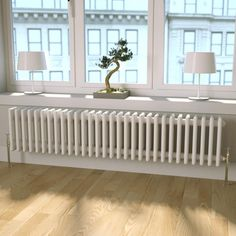 Bathroom Radiators Don't Have to Be Boring! The Butler & Rose Horizontal Designer Column Style White Radiator Is Super Stylish & Beautifully Finished. Shower Fittings, Decor, Home, Small Kitchen Sink, Traditional Radiators, Bay Window, New Homes, House, Interior Design