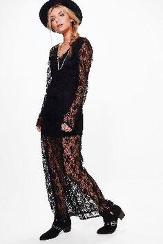 #boohoo Jodie Lace Tassle Detail Maxi Dress - black #Boutique Jodie Lace Tassle Detail Maxi Dress - black