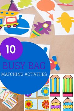 10 ideas for busy bags to help work on matching activities for your toddler - colour matching, shape matching, letter matching and more