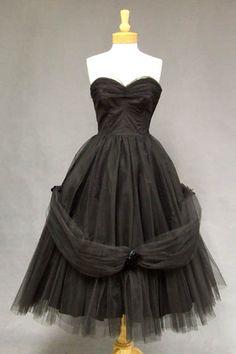 AMAZING Will Steinman Black Tulle Strapless 1950's Prom Dress  Item v6181 ... Price: $259