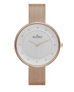 Reloj de mujer Skagen dorado al mejor precio y envío gratis  #relojes #relojmujer